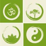 Il logos spirituale di vettore ha messo l'illustrazione con la parola indù OM Immagini Stock Libere da Diritti