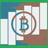 Il logotype di Bitcoin con le ombre e le linee nello schizzo formattano illustrazione 3D per i grafici finanziari di rapporto di  Immagine Stock Libera da Diritti