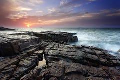 Il Long Island di Sandong Yantai al tramonto Fotografie Stock Libere da Diritti