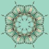 Il loto disegnato a mano nello stile orientale ha sistemato in un cerchio Fotografie Stock Libere da Diritti