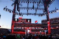 Il lottatore di WWE l'impresario e Bray Wyatt combatte in anello con Cr Fotografia Stock Libera da Diritti