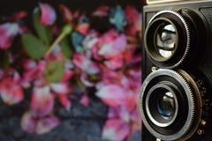 Il lubitel ed il muro di mattoni Fotografia Stock