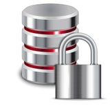 Il lucchetto protegge la base di dati Fotografia Stock Libera da Diritti