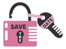 Il lucchetto rosa aperto e la chiave con le parole CONSERVANO LA DATA Isolato Immagini Stock
