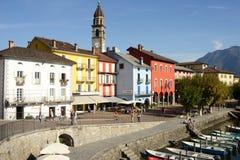 Il lungomare di Ascona sulla Svizzera Fotografia Stock Libera da Diritti