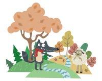 Il lupo e l'agnello illustrazione di stock