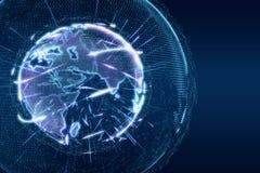 Il lustro di incandescenza del globo della terra di notizie di mondo allinea il blu trasparente Fotografie Stock