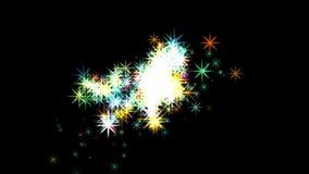il lustro 4k stars il fondo del fuoco d'artificio della particella, l'energia del fuoco, esplosione della polvere nera royalty illustrazione gratis