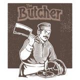 Il macellaio ha tagliato la carne di illustrazione di stock