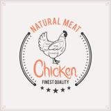 Il macellaio Shop Label Template, pollo taglia il diagramma Immagine Stock