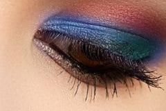 Il macro colpo colori luminosi e profondi dell'occhio del ` s della donna di bei, fa Immagini Stock Libere da Diritti