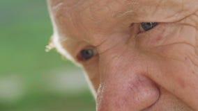 Il macro colpo del ritratto dell'anziano premuroso stanco esamina la macchina fotografica video d archivio
