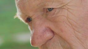 Il macro colpo del ritratto dell'anziano premuroso stanco esamina la macchina fotografica archivi video