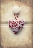 Il macro retro incrocio ha elaborato l'immagine di effetto del cuore di Natale su w immagini stock libere da diritti
