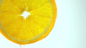 Il macro video 4K della fetta arancio e la sgocciolatura innaffiano contro fondo leggero archivi video