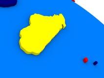 Il Madagascar sul globo variopinto 3D Fotografie Stock Libere da Diritti