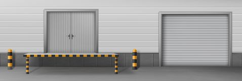 Il magazzino di affari ha chiuso il vettore realistico dei portoni illustrazione vettoriale