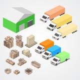 Il magazzino, il logisti e la fabbrica, costruzione del magazzino, immagazzinano l'esterno illustrazione vettoriale
