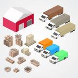 Il magazzino, il logisti e la fabbrica, costruzione del magazzino, immagazzinano l'esterno royalty illustrazione gratis