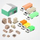 Il magazzino, il logisti e la fabbrica, costruzione del magazzino, immagazzinano l'esterno illustrazione di stock