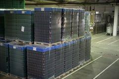 Il magazzino premette la birra ed altre bevande alcoliche Fotografie Stock