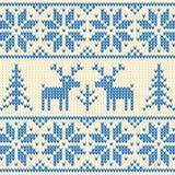 Il maglione bianco e blu con i cervi vector l'ornamento Immagini Stock