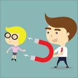 Il magnete di uso dell'uomo d'affari per attira il vettore della donna di affari Fotografia Stock