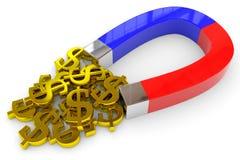 Il magnete a ferro di cavallo attrae i segni del dollaro dell'oro Fotografia Stock