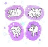 Il maiale allegro del nuovo anno illustrazione di stock