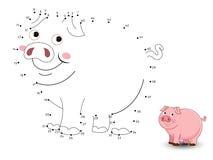 Il maiale collega i punti e colora illustrazione di stock