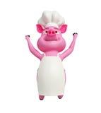 Il maiale del cuoco unico sta saltando illustrazione vettoriale