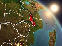 Il Malawi da spazio durante l'alba Fotografie Stock Libere da Diritti