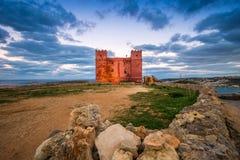 il, Malta - St Agatha ` s rewolucjonistki wierza przy zmierzchem Obrazy Royalty Free