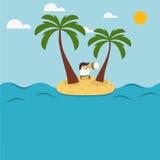 Il Man dipende un'isola Immagine Stock