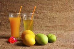 Il mango di Alphonso ed il mango crudo fruttificano con i loro succhi Immagini Stock Libere da Diritti
