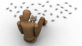 Il manichino del burattino che giudica origami crane l'illustrazione 3d Fotografia Stock Libera da Diritti
