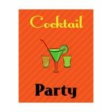 Il manifesto del ricevimento pomeridiano con l'alcool beve in vetri su fondo arancio Immagine Stock