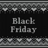 Il manifesto di Black Friday dentro tricotta la progettazione di Natale Vettore Immagini Stock