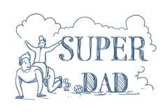 Il manifesto eccellente di scarabocchio del papà con il figlio di guida dell'uomo sopra appoggia sul padre felice Day Concept del Immagini Stock Libere da Diritti