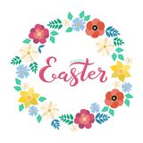 Il manifesto felice di Pasqua con i fiori della molla avvolge il fondo Immagini Stock Libere da Diritti