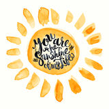 Il manifesto-Sun disegnato a mano dell'iscrizione dell'acquerello con voi è i soli Fotografia Stock Libera da Diritti