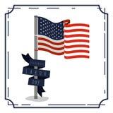Il manifesto variopinto con l'annata del confine di celebra la festa del lavoro con la bandiera americana in palo e nell'etichett Fotografia Stock
