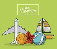 Il manifesto variopinto di gode della vacanza con l'aeroplano e barca a vela e stelle marine e beach ball Immagine Stock Libera da Diritti