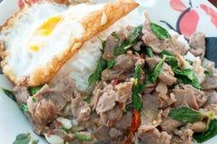 Il manzo ed il basilico fritti piccanti vanno con l'uovo fritto Immagini Stock Libere da Diritti