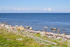 Il mar Bianco e la sua riva sull'isola di Bolshoi dell'arcipelago di Zayatsky Solovetsky Fotografia Stock Libera da Diritti