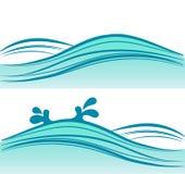 Il mare blu ondeggia su fondo bianco Immagini Stock