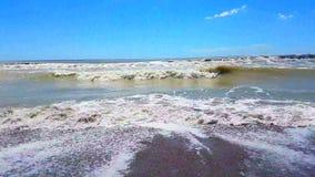 Il mare caraibico tropicale della spiaggia con la sabbia dell'oro, festa, si rilassa e video d archivio