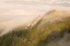 Il mare di foschia sulla cima della montagna Immagini Stock Libere da Diritti