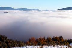 Il mare di nebbia con le foreste come priorità alta Immagini Stock Libere da Diritti