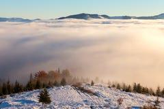 Il mare di nebbia con le foreste come priorità alta Immagine Stock